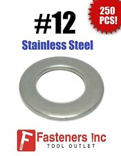 """(Qty 250) #12 Stainless Steel Flat Washers 9/16"""" OD (18-8 Stainless)"""