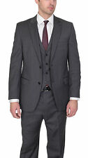 Alfani RED Slim Fit Solid Medium Gray Two Button Three Piece Wool Suit