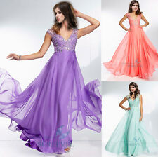 Cap Sleeve Long Chiffon Evening Dress Prom Party Gown Bridesmaid Dress size 6-16