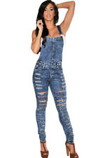 Sexy Womens Dark Acid Wash Denim Destroyed Fitted Overall jumpsuit rompers