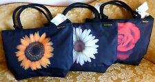 HAROLD FEINSTEIN DESIGN Tote Shoulder Bags BLACK w/ Rose, Daisy or Sunflower NEW