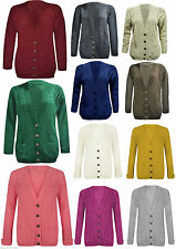 Womens Ladies Long Chunky Cable Knitted Button Long Sleeves Cardigan 8-14