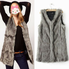 1x Womens Faux Fox Fur Vest Winter Warm Long Outerwear Coat Jacket Waistcoat #YQ