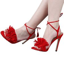 Ladies Womens Lace Up High Heel Sandals Tassel Fringe Tie Up Party Strappy IAU