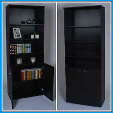 Display Stand Cabinet Unit Tall Black Bookcase Wooden Cupboard 4 Shelves Modern