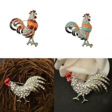 FASHION CHICKEN ROOSTER COCK CRYSTAL RHINESTONE BROOCH PIN JEWELRY CHRISTMAS