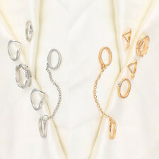 UK Women 6pcs Set Gold Silver Rings Crystal Above Knuckle Stacking Band Mid Ring