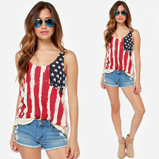 Summer Womens USA Flag Print Vest Sleeveless T-Shirt Tank Top Blouse Camisole