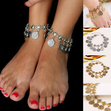 Bohemian Gypsy Antique Silver/Gold Coin Tassel Ankle Bracelet Foot Jewelry Chain