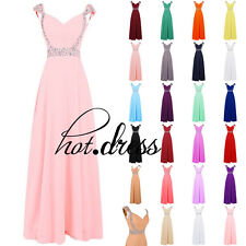 STOCK Straps Long Formal Bridesmaid Dress New Evening Prom Party Ball Gowns 6-18