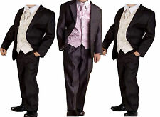 Boys Grey Black 5 Piece Suit Formal Wedding Pageboy Waistcoat Shirt Age 1 - 13