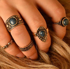 Chic Women Punk 5pcs Retro Vintage Palace Style Turquoise Ring Jewelry Gift
