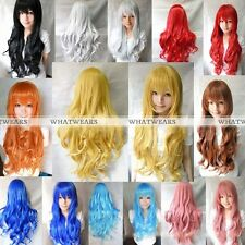 Women Long Hair Wigs Curly Wavy Synthetic Anime Cosplay Party Full Wigs 80cm 0YT
