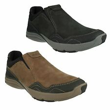 WAVE TRAVEL MENS CLARKS NUBUCK LEATHER SLIP ON CASUAL WAVEWALK SHOES BOOTS SIZE