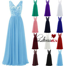 New Lace Formal Long Wedding Bridesmaid Dress Prom Party Evening Gown Stock 6-20