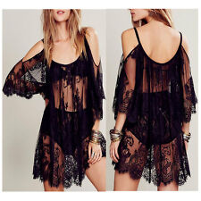 Womens Sexy Sheer Beach Dress Sun Dress Strap Lace Floral Hippie Boho Cover Up