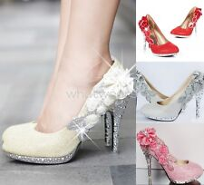 Women Sequin Gorgeous Wedding Bridal Party Crystal High Heels Shoes #JY