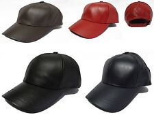 Made in USA unisex 100% genuine leather baseball cap hat Any Color Biker Trucker