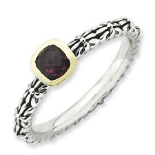 Sterling Silver ct. & 14k Stackable Expressions Checker-cut Rhod. Garnet Ring