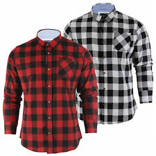 Mens T-Shirt by Brushed Flannel Check Long Sleeved Brave Soul Top S-XXL