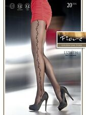 Lizbeth Black Nylons Tights Hosiery Sheer Side Design Patterned 20 den S Fiore