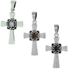 Sterling Silver Celtic Center Cross Pendant w/ Cubic Zirconia Stone
