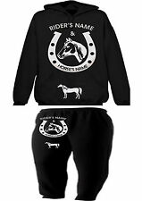 HORSE AND RIDER HOODIE & BOTTOMS SET  PERSONALISED SHOWING EQUESTRAIN XMAS GIFT