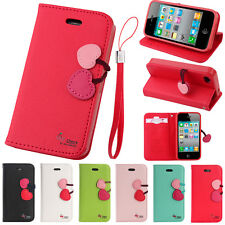 Luxury Cute Cherry Leather Flip Stand Wallet Card Case Cover For Apple iPhone