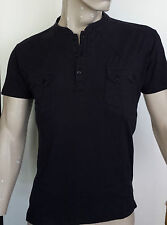 RELIGION - Mens Grandad Collar T Shirt  in  Washed Black [Now:£25]
