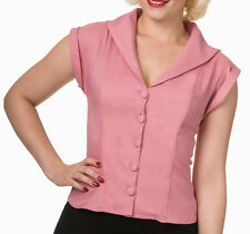 Banned Apparel 50s Rockabilly Vintage Blouse Shirt Button Top Pinup 8-14 Pink