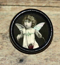 VALENTINE Victorian Little Girl CUPID Altered Art Tie Tack or Ring or Brooch pin