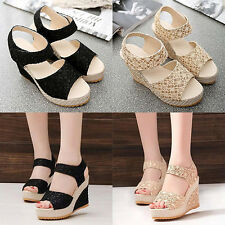Women's Faux Leather High Heel Platform Lace Peep Toe Beach Sandals Gratifying