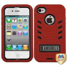 Z-For APPLE iPhone 4/4S/4G TUFF eNUFF Hybrid Case Cover Natural Black/Red w/Stan