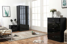HIGH GLOSS 3 PIECE Bedroom Furniture Set - Wardrobe, 5 drawer Chest & Bedside