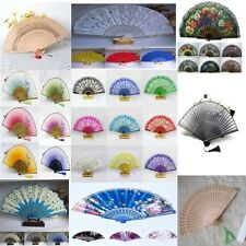 Multi-Style Folding Hand Wood &Cloth Decorative Handheld Fan Wedding Party Decor