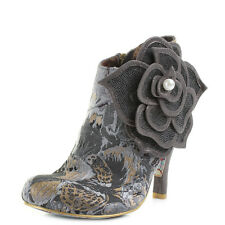 Womens Irregular Choice Pearl Necture Black Grey Ankle Boots Shu Size