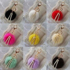 New Cute Genuine Soft Fur Ball Handbag Key Chain Cell Phone Car Pendant Stylish