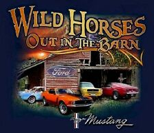 FORD MUSTANG T-SHIRT WILD HORSES OUT IN THE BARN S-XL22.99+2XL FS NEW