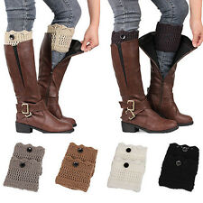 Popular Women Winter Leg Warmers Button Crochet Knit Boot Socks Toppers Cuffs