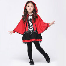 Girl Halloween Costumes Little Red Riding Hood Fancy Dress+Cape Kid Cute Costume
