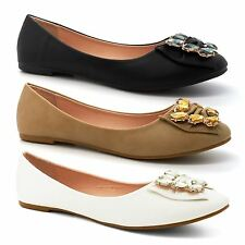 Ladies Bow UK New Womens Dolly Pumps Flat Ballet Ballerina Shoes Size Diamante