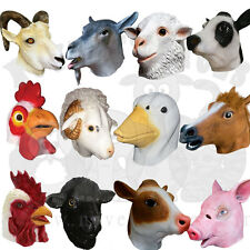 Latex Animal Farm Duck Rooster Goat Ram Cow Bull Pig Sheep Prop Fancy Dress Mask