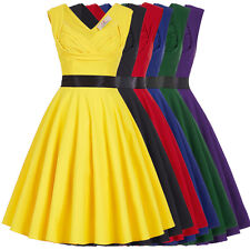 Women Lady Vintage Style 50s V-Back Pleated Housewife Party Holiday Picnic Dress
