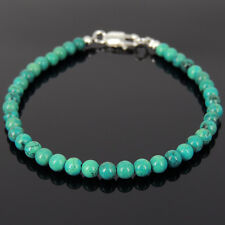 Men's Bracelet 4mm Blue-green Turquoise 925 Sterling Silver Beads Clasp 878M