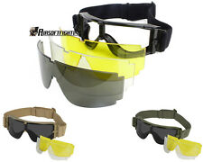 Military 3Lens Goggles Army Sunglasses Tactical Glasses For Wargame Airsoft Bike