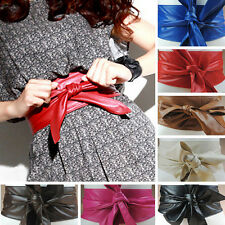 Womens Soft PU Leather Wide Self Tie Bow Wrap Around Obi Waistband Belt 8 Colors