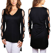 Women's Sexy Black V-Neck Hollow Out Cross Bandage Casual T-Shirts Solid Blouse