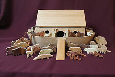 Handcrafted oak Noah's Ark with over 20 pairs of animals