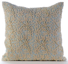 Blue Pearls & Crochet Lace 18x18 Cotton Linen Throw Pillows Cover - Floral Jaal