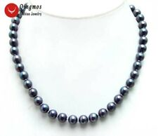 """SALE Small 8mm High Quality Round Black Sea shell Pearl 17"""" necklace - nec6024"""